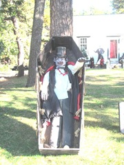 11.2011 Wellfleet Halloween yard 11 man in coffin