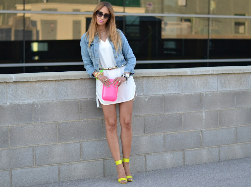 Oasap.com, Oasap, Denim Jacket, Zara dress, Neon, Fluo