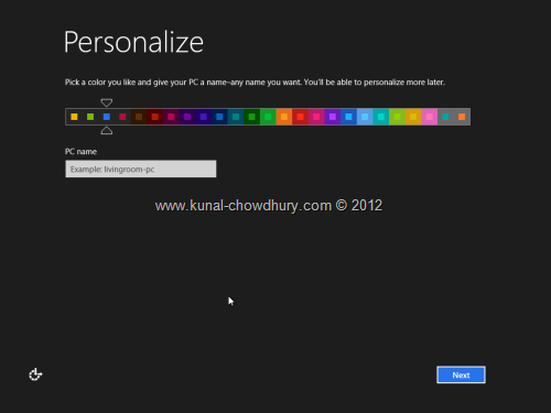 Win 8 Installation Experience - Personalize Color 3
