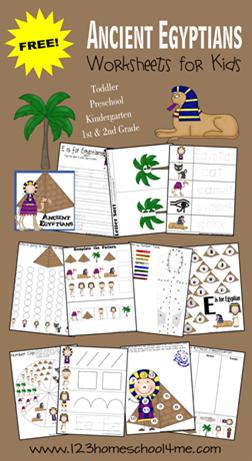 math worksheet : free ancient egypt preschool pack : Homeschool Worksheets Kindergarten