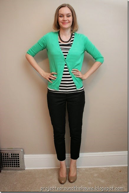 Green, stripes, black ankle pants