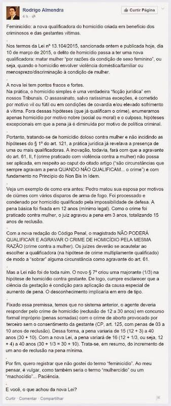 Opinião Rodrigo Almendra sobre Feminicídio