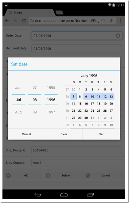 A native Android date input control is visible in a form view of a mobile app created with Code On Time mobile database app generator.