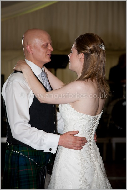 Bride and Groom dancing at a scottish wedding