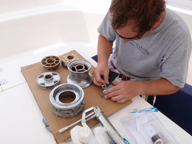 Jason doing windlass maintenance