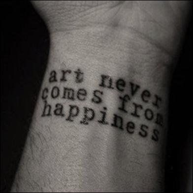 arte não resulta da felicidade