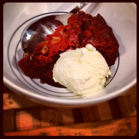 Chocolate ginger brownie cake and clotted cream icecream