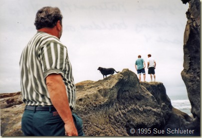 Wayne Steve and Sadie exploring rocks Tom watching Olympic Nat Pk