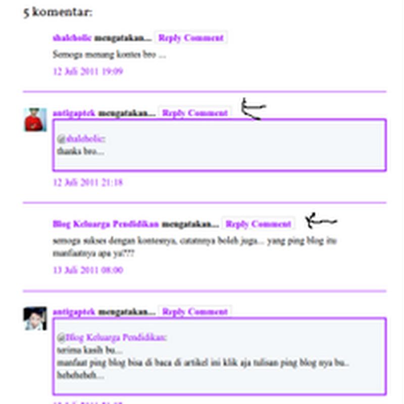 Membuat Tombol reply komentar di blog