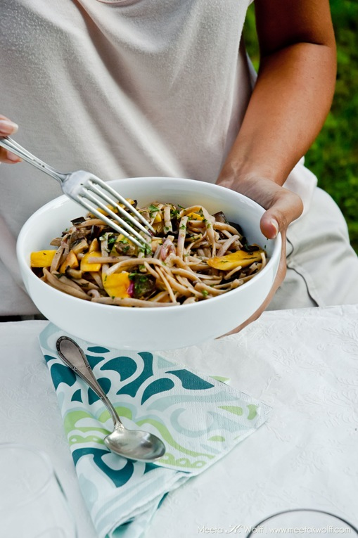 Buckwheat Linguine with Aubergine and Mango (0011) by Meeta K. Wolff