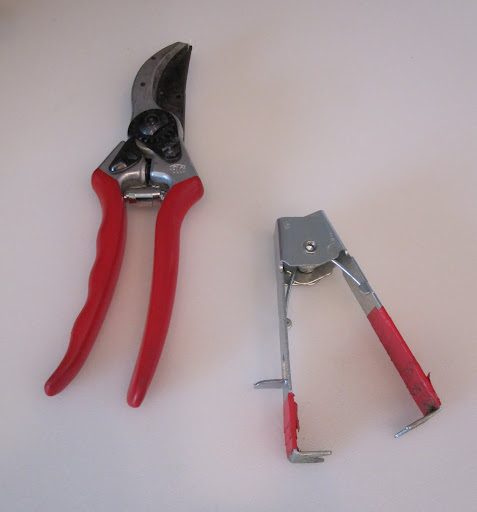 Here are two tools that will be used to create the rose arrangements: to the left is a pruner and to the right is a stem stripper. Tom placed red tape on the stem stripper because he said he has lost is several times in a pile of leaves -- so it is easier for him to spot with the red tape.