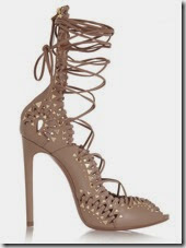 Alaia Studded Laceup Nude Shoes