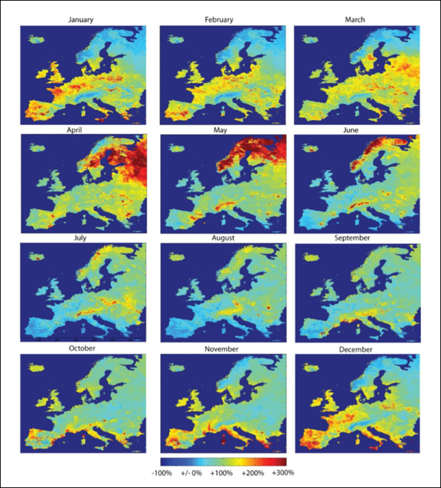 Monthly peak flood discharge anomalies for Europe. Mean peak discharges in the months January to December relative to overall mean peak discharges over the period 1990-2011. Peak discharge values have been calculated on a 5km x 5km resolution on the basis of LISFLOOD30 simulations forced by daily climate data. The figure shows that discharges do not vary uniformly with seasons across various regions in Europe, under the influence of atmospheric patterns and seasonal effects (e.g. snow melt causing high spring peak discharges in mountain ranges and Scandinavia). In addition, climate change is expected to affect discharge patterns in the future, for example delaying spring snowmelt peaks in northern Europe or increasing extreme discharge events in the British Isles, possibly changing the basin correlations currently observed. Graphic: Jongman, et al., 2014 / doi:10.1038/nclimate2124