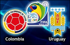 Colombia vs Uruguay en Octavos de final