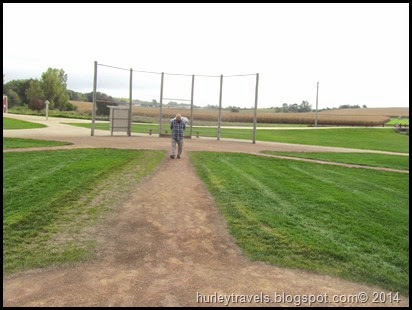Jerry walks to the pitcher's mound at Field of Dreams.