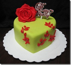 lime green with red rose heart cake
