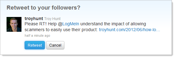 Retweet message to LogMeIn
