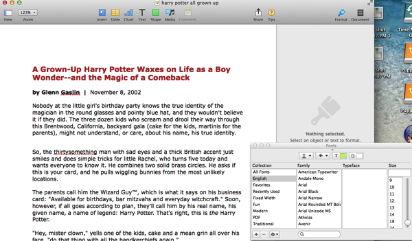 Font Menu for Pages