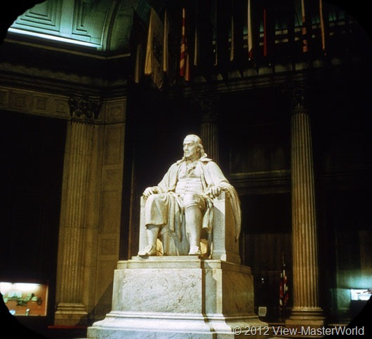 View-Master Philadelphia (A631), Scene 6: Benjamin Franklin statue at Franklin Institute