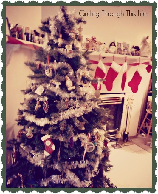 Christmas Tree and Mantel all decked out ~  Circling Through This Life ~ Saying Good-bye to Christmas for another year!
