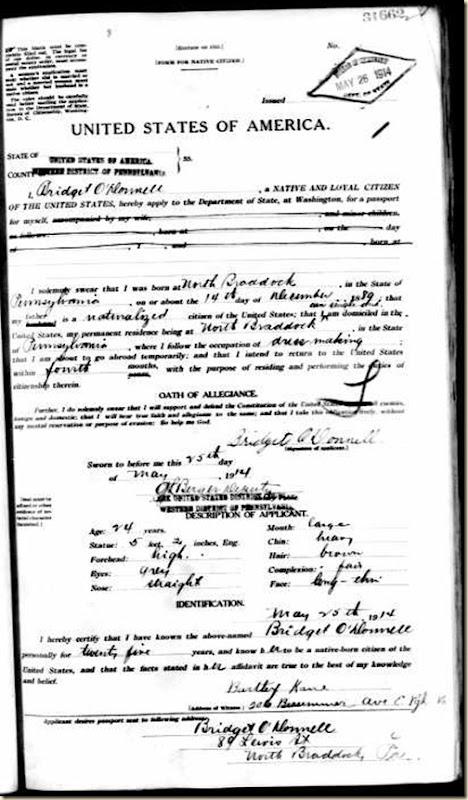 bridget O.Donnel passport appl
