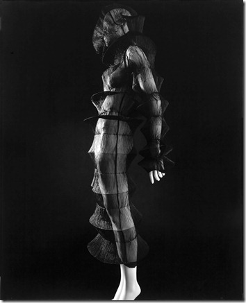 AAM Stylized Sculpture Miyake 94<br />Photograph by Hiroshi Sugimoto, 2007. Dress by Issey Miyake, Spring/Summer 1994. Pleated polyester. Collection of the Kyoto Costume Institute.<br />PERMISSION IS GRANTED TO REPRODUCE THESE IMAGES SOLELY IN CONNECTION WITH A REVIEW OR EDITORIAL COMMENTARY ON THE ABOVE-SPECIFIED EXHIBITION. ALL OTHER REPRODUCTIONS ARE STRICTLY PROHIBITED WITHOUT THE PRIOR WRITTEN CONSENT OF THE COPYRIGHT HOLDER AND/OR MUSEUM.<br />