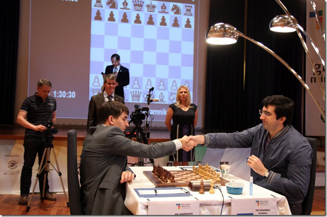 Kramnik vs Andreikin, Game 3 yesterday, Final WC 2013