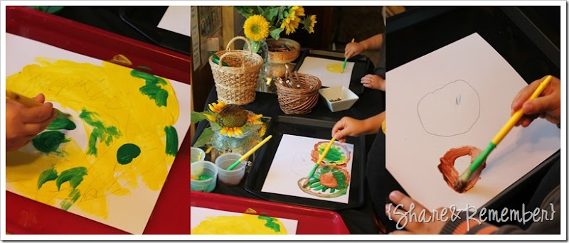 Painting Sunflower Preschool Art