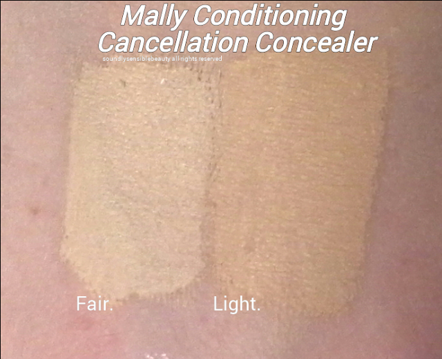 Mally Conditioning Long-wearing Concealer Swatches of Shades Fair, Light