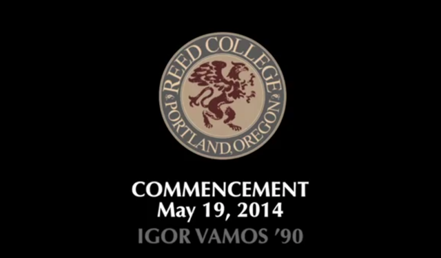 Logo for Reed College of Portland Oregon, introducing the commencement address by Igor Vamos, aka Mike Bonanno, 19 May 2014. Graphic: Reed College