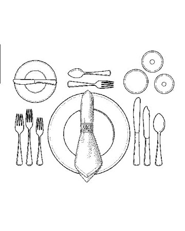 Before the First Course: Flatware should align with the bottom rim of the charger, a large plate, which will be removed after everyone spreads his napkin on his lap (napkin rings, customary at family meals, may be used as a festive decoration). The water glass stands above the dinner knife, white wine to its right, and red wine top center.