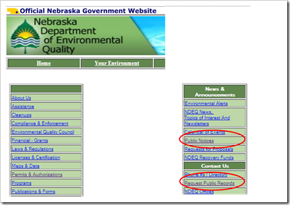 Nebraska Department of Environmental Quality Public Records Air Permits