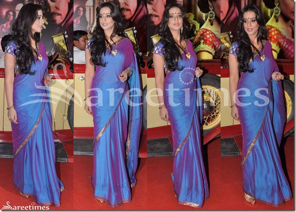 Mahi_Gill_Blue_Saree