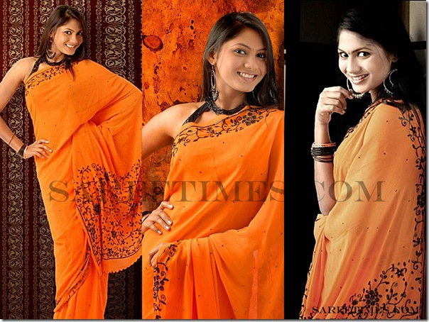 Shruti_Reddy_Orange_Designer_Saree