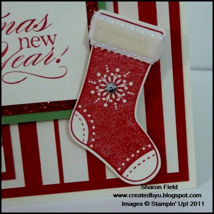 holly berry bouquet, specialty designer series paper, stitched stockings, stocking builder, wild wasabi, glimmer paper, basic jewel rhinestones, stmapin dimensnionals, delightful dozen, grosgrain, ribbon, createdbyu_blogspot, christmas, holiday, club, Sharon _Field
