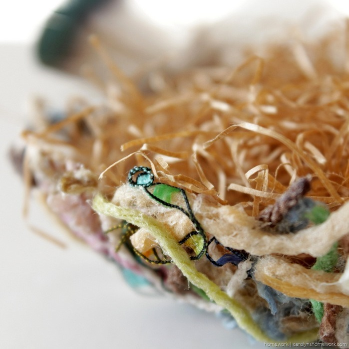 Yarn Scrap Paper Mache Nest via homework - carolynshomework (2)