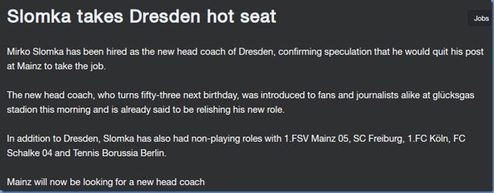 Slomka - new Dresden head coach