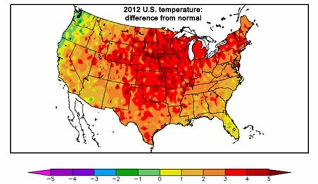 2012 temperatures in the U.S. compared to normal. The only large region where temperatures were slightly cooler than normal was the Pacific Northwest. High Plains Regional Climate Center