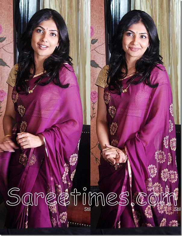 Kamalini_Mukherjee_Purple_Saree