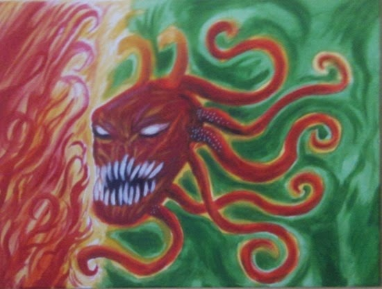 acrylic demon art painting