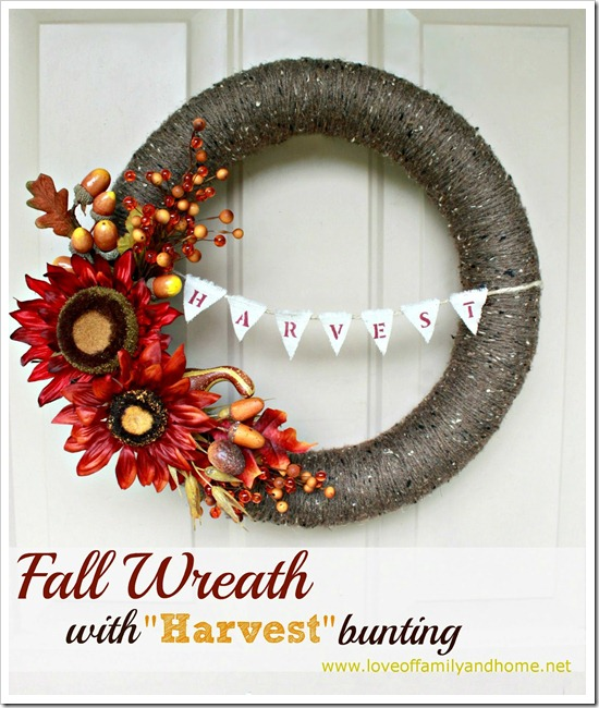 DIY Fall Yarn Wreath With Bunting 033 edited