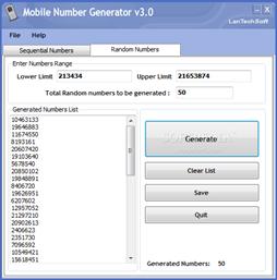 Mobile Number Generator