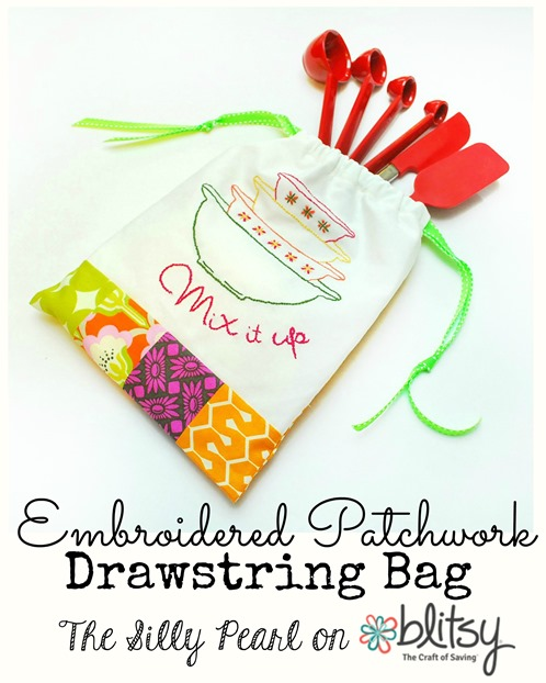 Embroidered Patchwork Drawstring Bag - The Silly Pearl on Blitsy Crafts