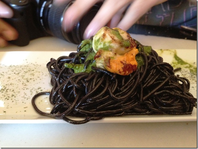 scallops with squid ink pasta