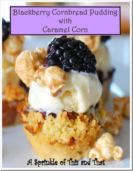 Blackberry Cornbread Pudding with Caramel Corn Poster