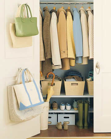 Take storage to new levels with shelves below a row of jackets. Install shelves near the base of your closet, and you'll no longer have to rifle through items strewn on the floor.