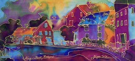 street scene silk art