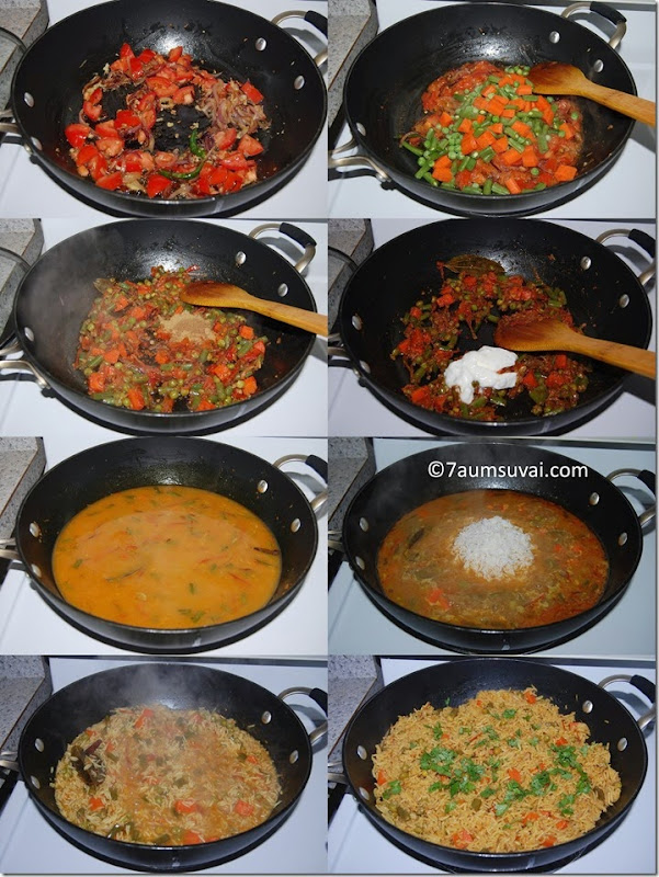 Vegetable biryani process