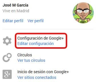 Captura Opción Editar configuración de Google+