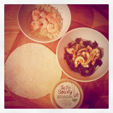 #31 Prawn couscous wasapea wrap assembly